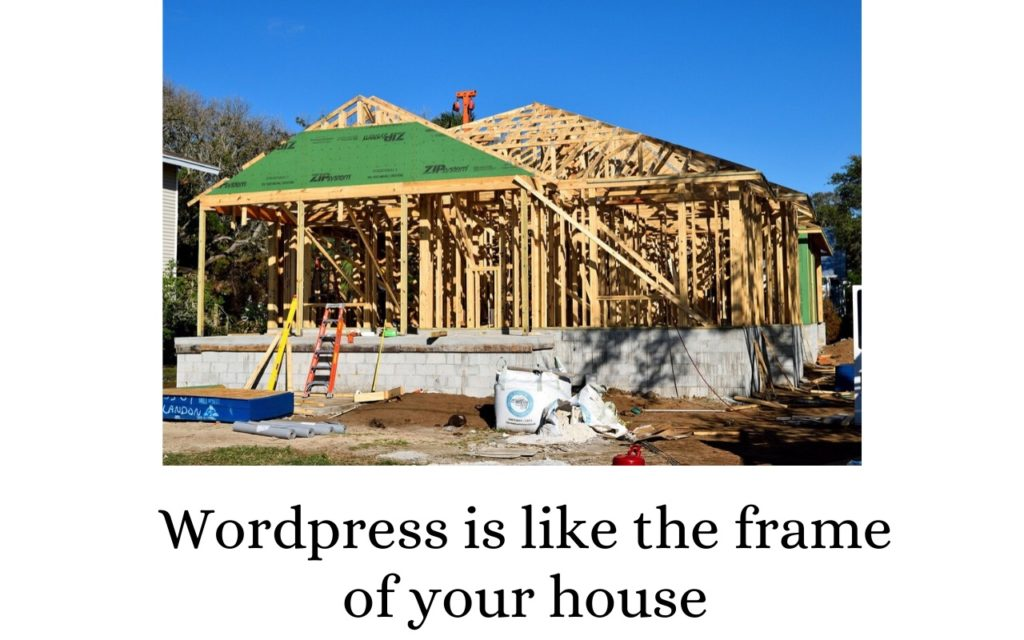 Wordpress is like the frame of your house.